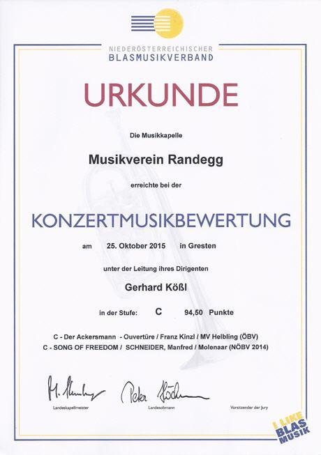 Urkunde Konzertwertung 2015